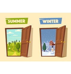 Open door Winter and summer Cartoon vector image vector image