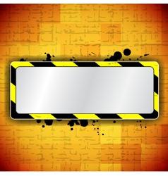 Orange background with frame and warning stripe vector image