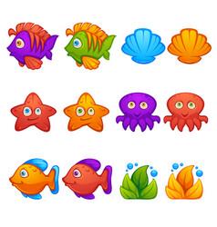 underwater world fish stars octopus bubble vector image vector image