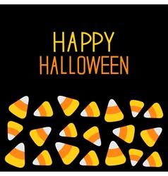 Candy corn set Happy Halloween card Flat design vector image
