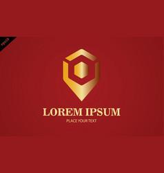 gold pin location logo vector image