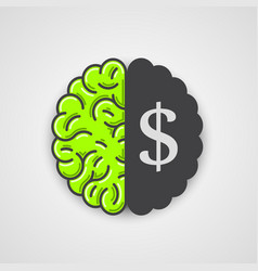 human brain with dollar sign vector image vector image