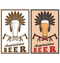 vintage emblem of american beer with native vector image