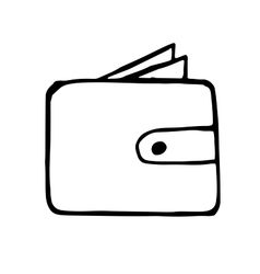 wallet doodle drawing hand drawn vector image