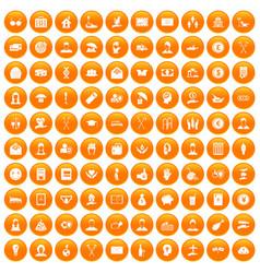 100 philanthropy icons set orange vector