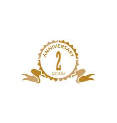 2 years ribbon anniversary vector image