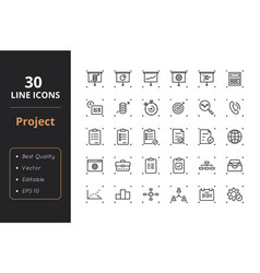 30 project management line icons vector image