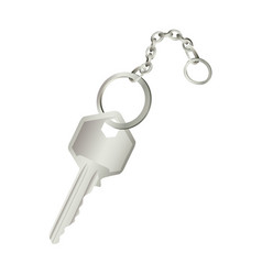 3d realistic metal key with chain icon design vector