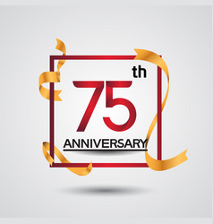 75 anniversary design with red color in square vector