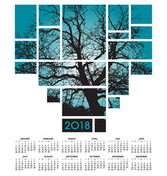A 2018 tree and nature calendar vector