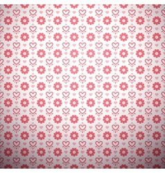 Abstract flower pattern wallpaper with hearts vector image