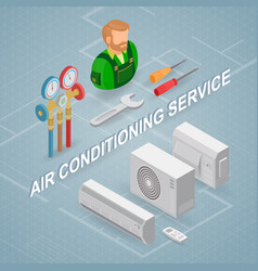 air conditioning service isometric concept vector image
