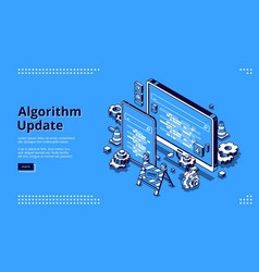 algorithm update isometric landing programming vector image