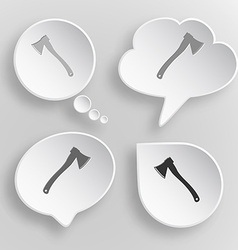 Axe White flat buttons on gray background vector