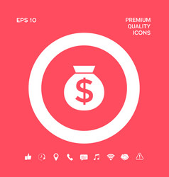 Bag of money icon with dollar symbol graphic vector