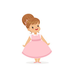Beautiful little girl posing in pink dress young vector