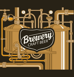beer banner with production line of retro brewery vector image