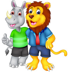 best friend of rhino and lion cartoon vector image