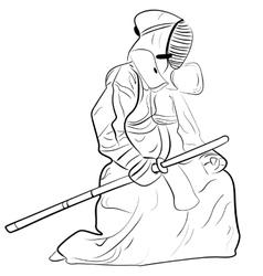 black and white sketch kendo samurai vector image