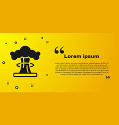 Black nuclear explosion icon isolated on yellow vector