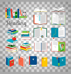 Books and stacks on transparent background vector