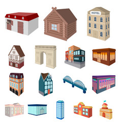 building and architecture cartoon icons in set vector image