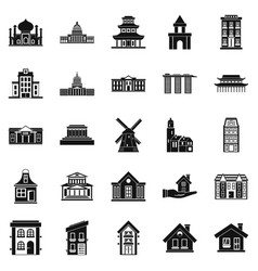 Building site icons set simple style vector
