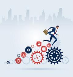 Businessman running on cogwheels process concept vector