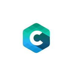 c hexagon pixel letter shadow logo icon design vector image