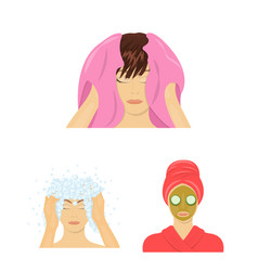 Care of hair and face cartoon icons in set vector