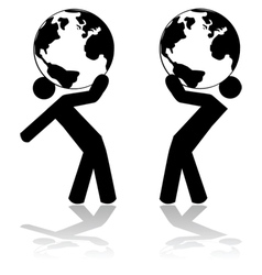 Carrying the planet vector image