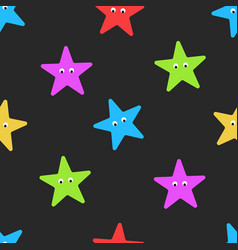 Cartoon starfish seamless pattern on dark summer vector