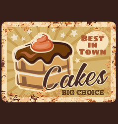 chocolate cakes rusty grunge plate vector image