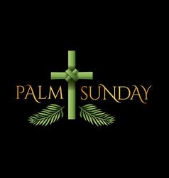 christian palm sunday cross theme vector image