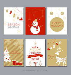 Christmas card collection set simple modern vector