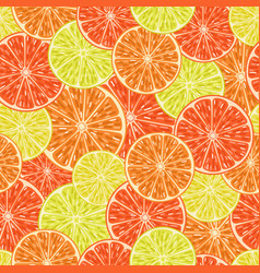 citrus slices seamless pattern vector image