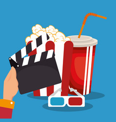 clapper cinema production icons vector image