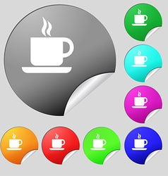 coffee icon sign Set of eight multi colored round vector image vector image