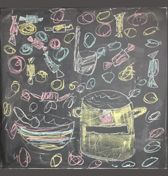colorful artistic drawing of chalk with lunch vector image