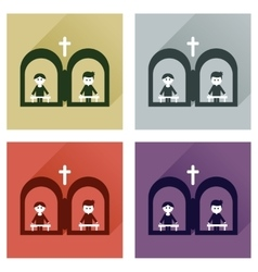 Concept of flat icons with long shadow priest s vector