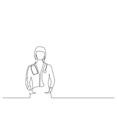 Continuous one line doctor woman with vector