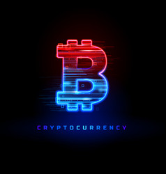 Cryptocurrency concept textured neon light sign vector