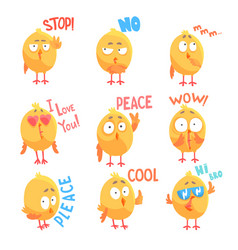 Cute cartoon comic chickens characters with vector