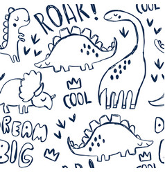 cute dinosaurs and lettering seamless pattern vector image