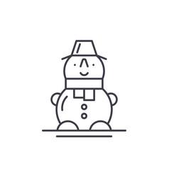 cute snowman line icon concept cute snowman vector image