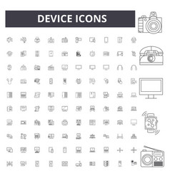 device line icons signs set outline vector image