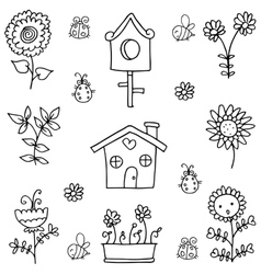 Doodle of spring theme flower vector