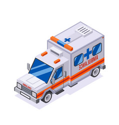 emergency ambulance car isometric automobile van vector image