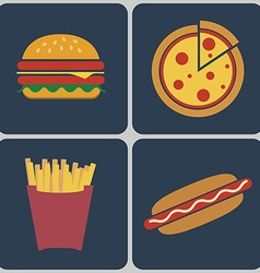 Fast Food colorful icon set vector image