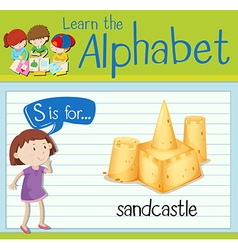 Flashcard letter S is for sandcastle vector image